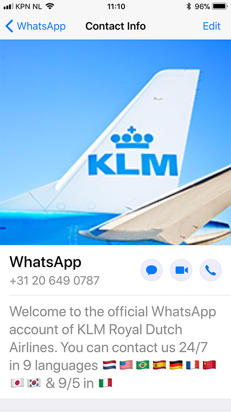 KLM WhatsApp Verified Business Account