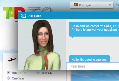 TAP Sofia virtual chatbot